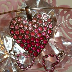 CrysCharming Pink  hearts necklace & earrings Silver plated princess style necklace beautiful large silver heart pendant that is covered with graduated pink rhinestones. Hoop earrings have pink rhinestone floating heart charms. CrysCharming  Jewelry