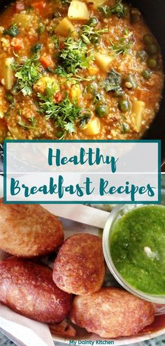 Healthy breakfast recipes collection with more than 40 recipes. These are easy everyday breakfast recipes. These are popular Indian breakfast recipes that are rich in protein fiber and healthy. Quick And Easy Appetizers, Vegetarian Breakfast Recipes, Indian Breakfast, Indian Street Food, Cooking Recipes, Healthy Recipes, Lunch Box Recipes, Greens Recipe, Everyday Food