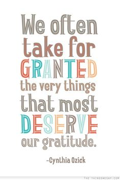 We often take for granted the very things that most deserve our gratitude