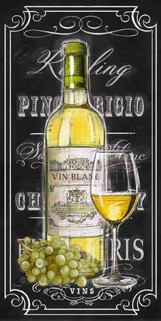 """""""Chalkboard Sign Vin Blanc"""" by Chad Barrett"""