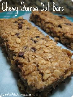 Chewy Quinoa Oat Bars 5 Cups Rolled Oats 1 1/2 -2 Cups Cooked Quinoa (about 1/2 Cup dry) 1/2 Cup Honey 1/2 Cup Maple Syrup 1/2 Cup Coconut Oil  1/2 Cup Applesauce 3/4 Cup Mini Dark Chocolate Chips 2 tsp Vanilla Dash or two of Cinnamon