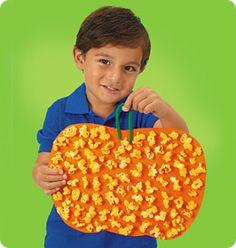 kids craft popcorn pumpkins