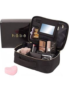Amazing offer on habe Travel Makeup Bag Mirror – Premium Vegan Designer Make Up Bag Organizer Train Case Women – Stores More 3 Cosmetic Bags, Make Up Bags Make Up Cases (Large, Black, in) online – Looknewclothing - Christmas Deesserts Make Up Palette, Travel Cosmetic Bags, Cosmetic Case, Cosmetic Items, Makeup Brush Case, Makeup Train Case, Makeup Training, How To Clean Makeup Brushes, L'oréal Paris