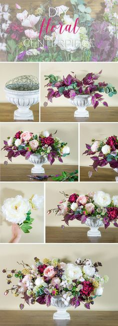DIY Silk Flower Centerpiece. Make this lush faux floral centerpiece with flowers from Afloral.com. Designed by Emmy-Ray Design Studio.