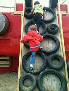 Grab some extra tires laying around and slap it on some wood and have your kids have a nice little obstacle course