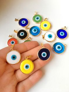 Evil eye beads 5 pcs, murano glass beads, evil eye charm for necklace, glass evil eye charms, malacc Evil Eye Jewelry, Evil Eye Necklace, Evil Eye Bracelet, Gold Bangle Bracelet, Greek Evil Eye, Evil Eye Pendant, Evil Eye Charm, Murano Glass Beads, Plastic Jewelry