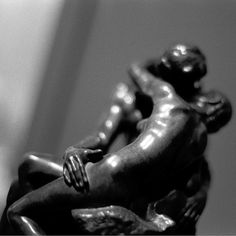 The Kiss - Black & White Fine Art Film Photography - Statues Embracing - barefoot city girl - $12