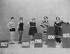 vintage everyday: The changing shape of female swimwear, from Victorian era to late the Vintage Style Outfits, Vintage Fashion, Gothic Fashion, Victorian Fashion, Fashion Fashion, Fashion Ideas, Fashion Trends, Summer Outfits Women 30s, Vintage Swimsuits