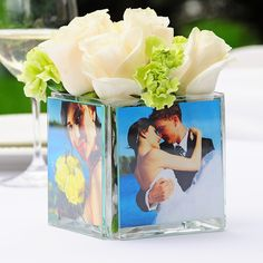 This Square Glass Photo Vase is made from your best memories! Each of these durable glass photo vases holds 4 of your best pictures for centerpieces and decorations! Photo Centerpieces, Wedding Centerpieces, Wedding Favors, Wedding Reception, Our Wedding, Dream Wedding, Wedding Decorations, Wedding Stuff, Centerpiece Ideas
