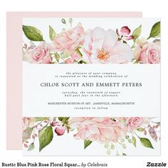 Shop Rustic Blus Pink Rose Floral Square Wedding Invitation created by Celebrais. Personalize it with photos & text or purchase as is! Square Wedding Invitations, Garden Wedding Invitations, Engagement Party Invitations, Wedding Stationery, Roses Pink, Diy Wedding Templates, Blush Pink Weddings, Luxe Wedding, Wedding Details