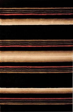 modernrugs.com black tan red striped rug