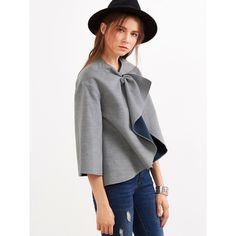 SheIn(sheinside) Grey Knotted Collar Kimono Sleeve Double Face Coat (€22) via Polyvore featuring outerwear, coats, collar coat, short sleeve coat, leather-sleeve coats, gray coat en collarless coat