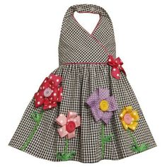 Bonnie Jean Little Girls' Seersucker Halter with Grograin Flowers, Black/White, Little Dresses, Little Girl Dresses, Cute Dresses, Little Girls, Baby Girl Fashion, Kids Fashion, Kids Dress Patterns, Baby Frocks Designs, Kids Frocks