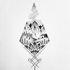 Image result for abstract mountain tattoo