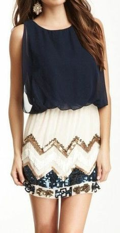 Chevron Sequined Dress ♥