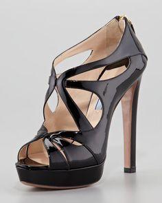 Vernice Leather Zip-Back Sandal, Black by Prada.
