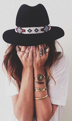 Boho hats and jewelry create the perfect look for fall fashion.