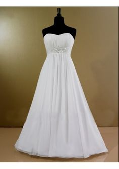 Chiffon Strapless Soft Neckline with Slim A-Line Skirt Fashion Simple Informal Wedding Dress