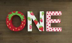 Hand painted letters ready to celebrate any occasion! Can be customized with any letters and available on Etsy now. 1st Birthday Party For Girls, First Birthday Party Themes, Little Girl Birthday, Birthday Party Decorations, Birthday Ideas, Painted Letters, Hand Painted, Happy Birthday Banner Printable, Strawberry Shortcake Birthday