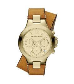 Michael Kors Peyton Round Goldtone Leather Strap Chronograph Watch - ShopBAZAAR