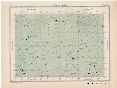 1910 star map 61 rare celestial star map original antique astronomy print english lithograph X