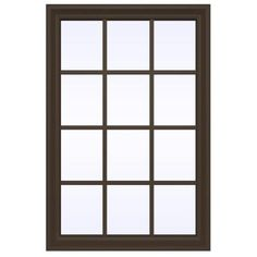 JELD-WEN 35.5 in. x 23.5 in. V-2500 Series Fixed Picture Vinyl Window with Grids - Brown