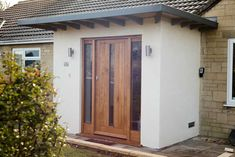 Bath Bespoke makes and installs bespoke wooden doors and frames including country doors and front doors with glass for homes across Bath and Bristol. Porch Flat Roof, Brick Porch, Front Door Porch, Front Porch Design, Wooden Front Doors, House Front Door, Glass Front Door, House With Porch, Modern Front Porches