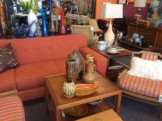 Orange retro style sofa, Henredon MCM table and pottery. Sofa, Couch, Retro Style, Retro Fashion, Pottery, Orange, Table, Furniture, Home Decor
