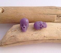 Lavender eco-resin handmade skull earrings. Surgical steel studs.