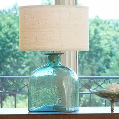 Apothecary Glass Jug Table Lamp turquoise_with_cream_shade