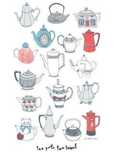 Teapots Tea towel | Charlotte Farmer