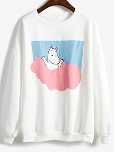Cartoon Print Loose White Sweatshirt 14.67