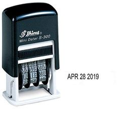 Shiny Self-Inking Rubber Date Stamp - S-300 - BLACK INK (42510-K)