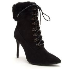 Venus Women's Faux Fur Lace Up Bootie ($49) ❤ liked on Polyvore featuring shoes, boots, ankle booties, black, laced up boots, black lace up booties, black ankle boots, black ankle bootie and black booties