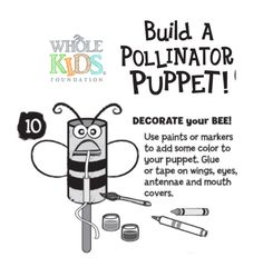 Craft bees & butterflies from recycled toilet paper tubes.  Discover the role pollinators play in our food.