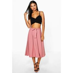 Boohoo Night Aalia Belted Ribbed Full Midi Skirt (£20) ❤ liked on Polyvore featuring skirts, antique rose, evening skirts, rose skirt, white midi skirt, white knee length skirt and white skirt