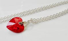 Sweet Swarovski Crystal Heart Necklace on Silver Chain