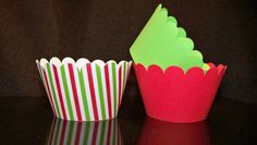 Quantity of 12 CupCake Wrapper Christmas Stripe Red by BlingForU2, $7.50