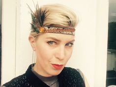 Offwhite, green, blue, black and orange feather headband flapper by byRK on Etsy https://www.etsy.com/listing/240590110/offwhite-green-blue-black-and-orange