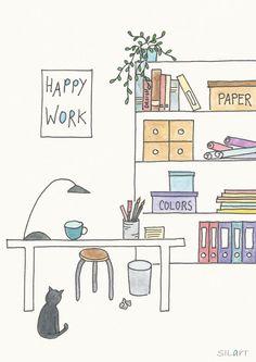 "Print ""Happy work"" Illustration"
