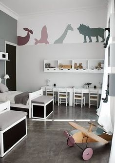 Source: Ideas to Steal The mural animals are killer! I love this idea - a simple and effective solution for those who are scared to get into too much detail. Try using animal shape stencils and paint them on, or alternatively use funky wall decals like this one here.