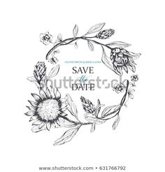 Save Date Card Floral Wreath Protea Stock Vector (Royalty Free) 631766792 Wedding Favours, Wedding Invitations, Wedding Table, Diy Wedding, Protea Wedding, Shop Logo, Save The Date Cards, Vector Design, Wedding Designs