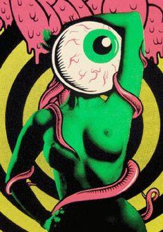 green nude w eyeball head