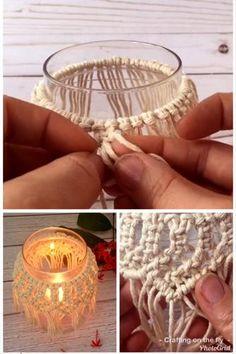 Macrame Art, Macrame Design, Macrame Projects, Macrame Knots, Diy Candle Holders, Easy Video, Macrame Patterns, Mason Jar Crafts, Craft Tutorials