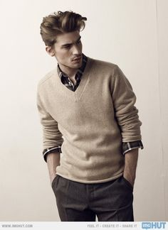 tan v-neck cashmere sweater