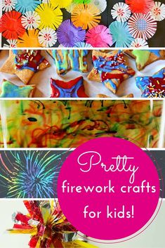 5 MORE easy firework crafts for kids - Hodge Podge Craft More than 12 awesome firework crafts for kids, using diverse materials including paint, cupcake liners, salt, wool & a firework in a glass! New Year's Eve Crafts, Holiday Crafts, Easy Crafts, Kids Crafts, Fireworks Design, Fireworks Art, Bonfire Night Crafts, Happy Birthday Fireworks, Homemade Fireworks