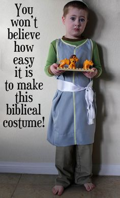 Make a bible costume in 30 minutes or less for a child using a pillowcase as the base. Some scissors and a few quick lines of sewing is all you need