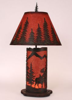 Moose Scene Table Lamp With Nightlight   Red