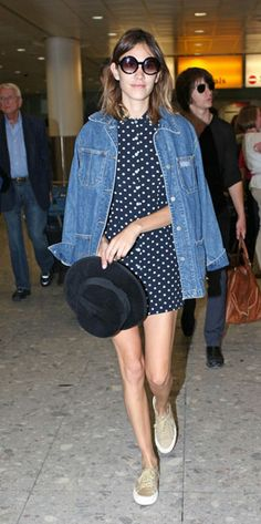 Love the oversized denim jacket with the girly dress