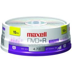 Maxell DVD+R 15PK SPN 16X Write-once DVD+R Spindle, 15 Pack by Maxell. $7.99. 4.7 GB 120 MIN 16X RECORDING SPEEDFOR RECORDING WITH DVD+R/RW DRIVES/RECORDERS READ COMPATIBLE WITH DVD-ROM PLAYBACK DEVICES WRITE ONCE15-CT SPINDLEUPC : 025215624360Shipping Dimensions : 5.25in X 5.25in X 1.80inEstimated Shipping Weight : 0.65
